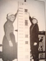 Helen Lindsay and Delight Dodyk measure the success of the Centenial Building Campaign November, 1995